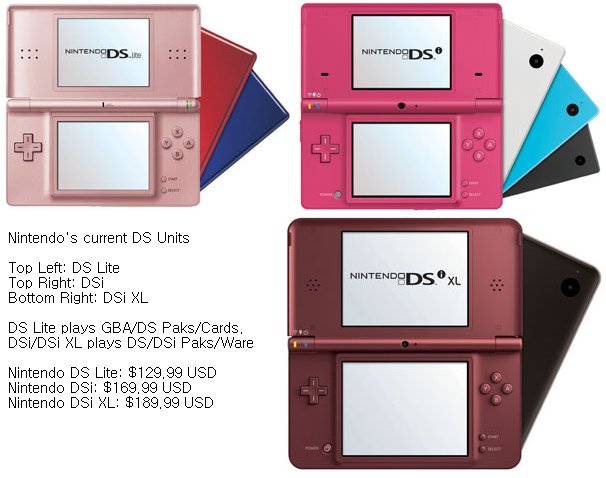 The current Nintendo DS/DSi Family.